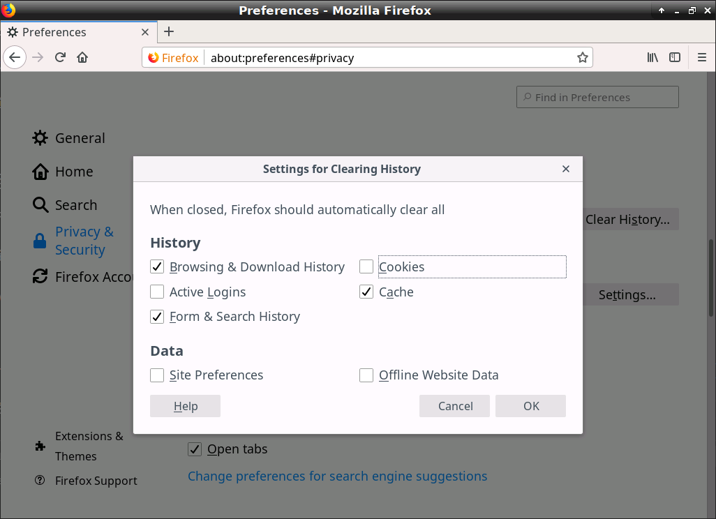 Firefox / Settings for Clearing History
